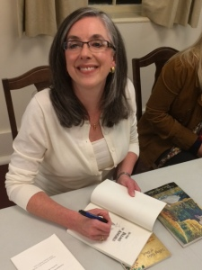 Signing books after reading at Salem College in Winston-Salem, NC, October 16, 2014